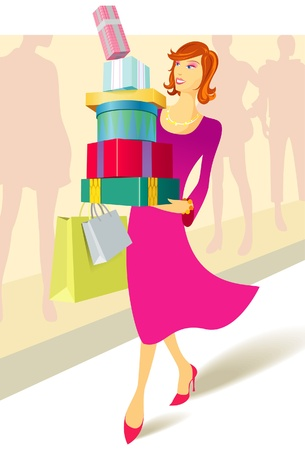 Woman carrying a stack of presents   bags Stock Vector - 15520337