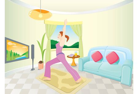 yoga girl: A young woman is doing yoga at her modern home Illustration