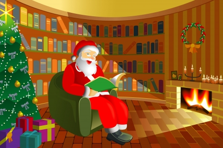 Santa Claus takes a break in comfort room Vector