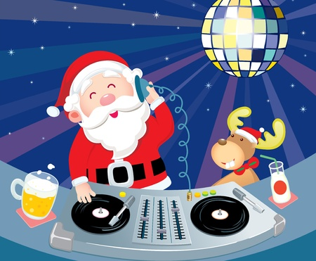 DJ Santa Claus in action with his deer Vector