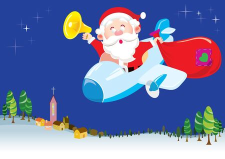 Santa is coming to town by his plane Vector