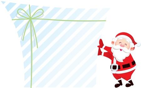 산타 클로스와 그의 큰 선물; 디자이너는 선물 상자의 빈 영역에 메시지를 입력 할 수 있습니다