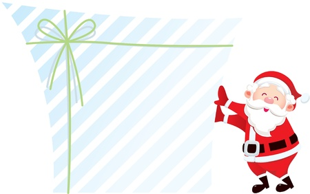Santa claus and his big gift; designer can fill message on the the blank area of gift box
