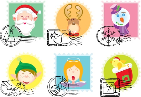 Christmas Stamps collection illustration set Vector