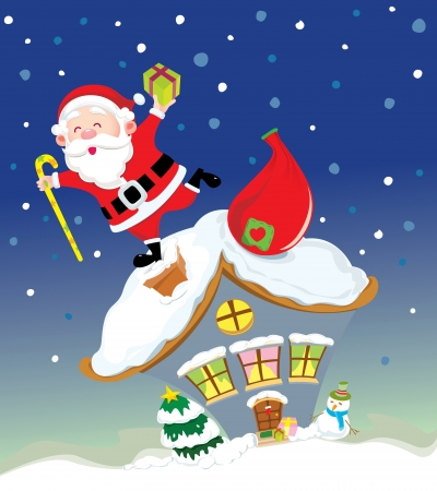 Santa Claus feels happy on the chimney of house Vector