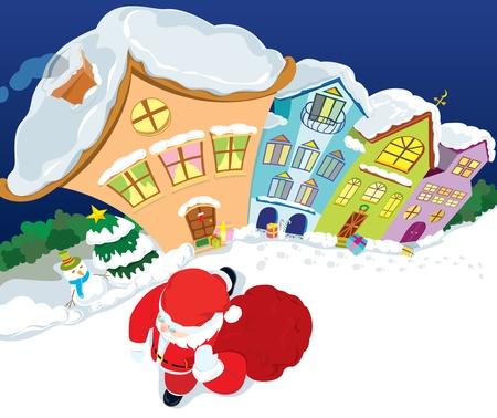 Santa Claus come to the town at night Stock Vector - 15520336