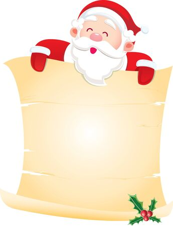Santa Claus holding a paper scroll; the center space area for the designer fill what they like