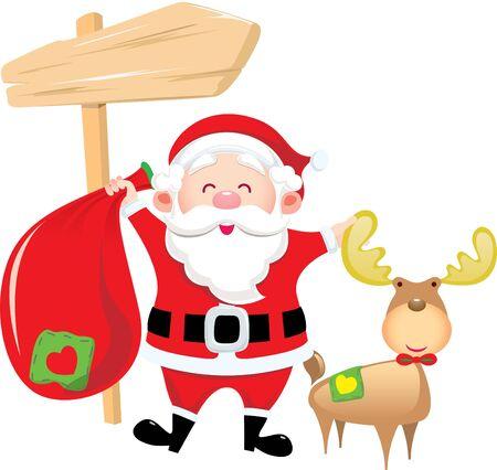 산타 클로스 가방을 들고와 자신의 사슴 스탠드