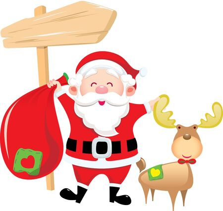 Santa Claus holding the bag and stand with his deer Stock Vector - 15385121