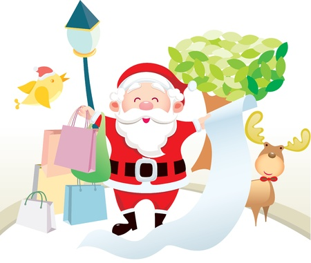 Santa Claus holding the list and stand on the street  Stock Vector - 15520331