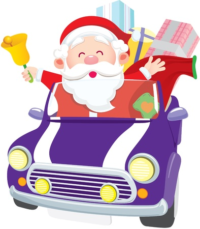 Santa Claus driving car with gift and ring the bell