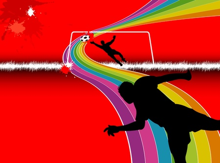 kicking ball: Abstract soccer Silhouette background 1 Illustration
