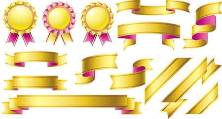 Gold awards with pink banner ribbon design element set Stock Vector - 15628997