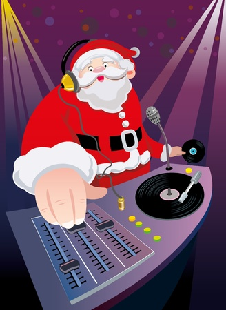 DJ Santa Claus mix the track when Christmas party Vector