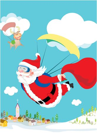 skydiving: Santa Claus skydiving with his deer and gift delivery Illustration