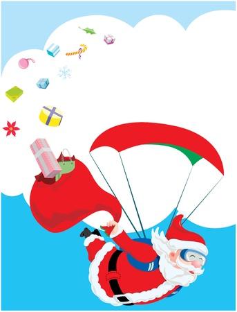 산타 클로스의 기내와 그의 깨진 선물 가방