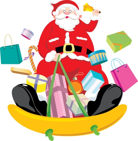 Santa Claus snow sliding and deliver the Christmas gift Stock Vector - 16260943