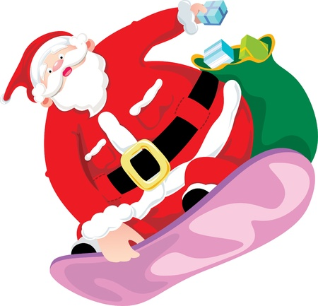Snow board Santa Claus Vector