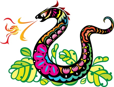 inhaling: Chinese Style Snake Breathing Fire Ball Art in color