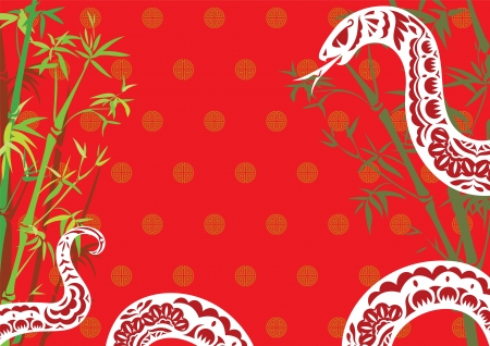 bamboo snake: Chinese new year of Snake background in paper cut style