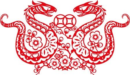 snake year: Ilustraci�n serpiente doble en estilo chino del corte del papel