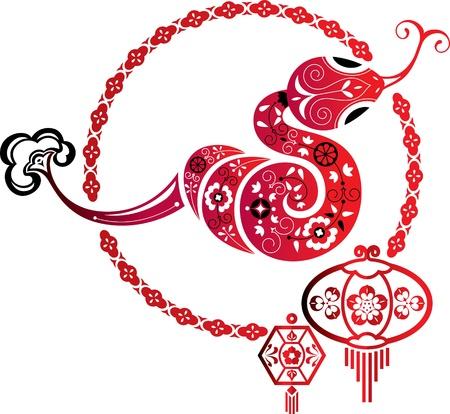 포춘 뱀과 중국 랜턴 그래픽 요소 일러스트
