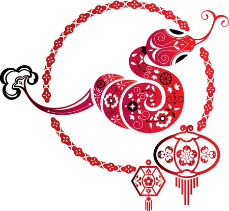 Fortune Snake and Chinese lantern graphic element Illustration