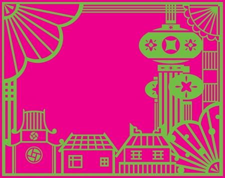 paper cut: Chinese papier gesneden Village en lantaarns ontwerp grafisch ontwerp in de hedendaagse voor Chinese vakantie festival