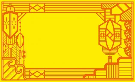 remplir: Papier chinois lanternes design graphique design contemporain pour le festival en vacances en chinois, zone centre spatial pour le concepteur de remplir n'importe quel message de la chance.