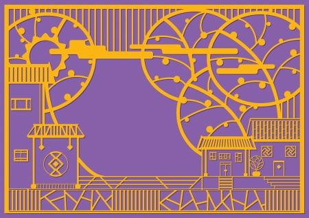 중국 휴일 축제 현대 중국 종이 컷 마을 디자인 그래픽 디자인 일러스트