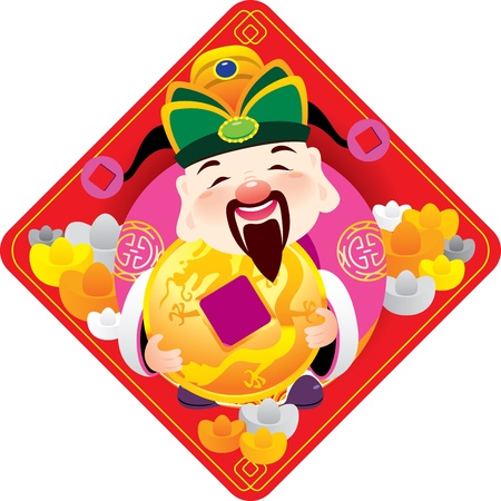 Chinese god of prosperity holds the golden coins in Fai Chun Vector