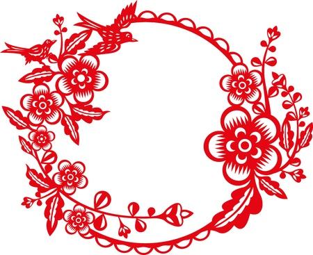 golondrina: Las golondrinas vuelan alrededor del marco de la flor del ciruelo, que representan la primavera de temporada est� llegando