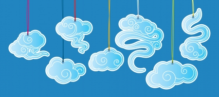 Chinese classic cloud tags in different shape Vector