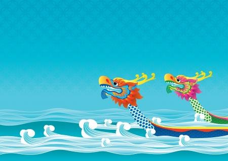 cabeza de dragon: Competencia del barco del drag�n es una de las ceremonias tradicionales Tuen Ng Festival