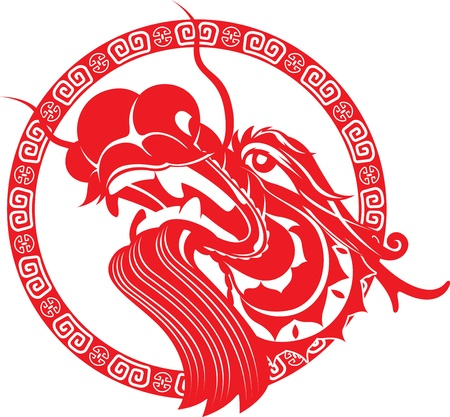 dragon year: Chinese Dragon Head with border art design illustration Illustration