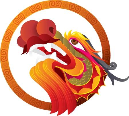 cabeza de dragon: Cabeza del drag�n chino con dise�o del arte ilustraci�n de la frontera