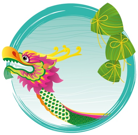 year of the dragon: Chinese Dragon boat head and zong zi art design, for Dragon boat festival