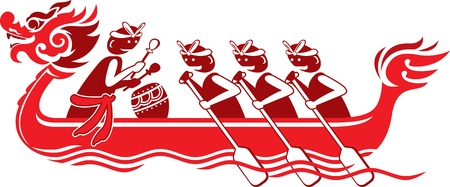 bateau de course: Dragon chinois bateau illustration