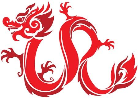 빨간색 오리엔탈 스타일 용의 그림