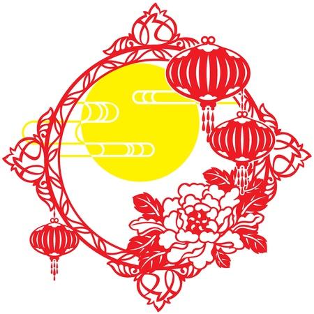 문, 프레임, 클라우드, 중국 손전등, 중추절, 랜턴, 손전등, 중국 새해, 휴일 및 축하, 모란, 전통 축제, 장식, 구정, 종이 절단, 새해 전야, 고립 된 개체,  일러스트
