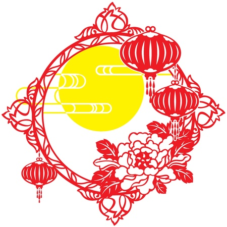 Moon, Frame, Cloud, Chinese Lantern, Mid-Autumn, Paper Lantern, Lantern, Chinese New Year, Holidays And Celebrations, Peony, Traditional Festival, Decor, lunar new year, paper cut, New Year s Eve, isolated objects, Illustrations And Vector Art, paper-cut, Vector