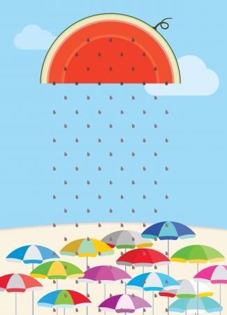 cool down: Fresh watermelon seeds cool the hot summer down concept illustration Illustration