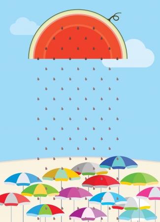 cool down: Semillas de sand�a fresca enfriar el verano caliente por concepto de ilustraci�n