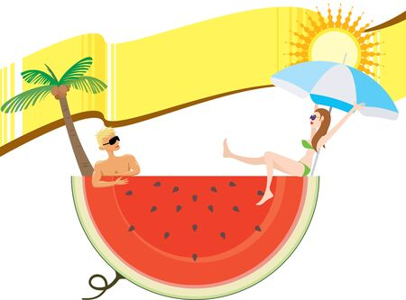 watermelon woman: Cool down hot summer holiday with yellow banner, blank area for the designer to fill what they like Illustration