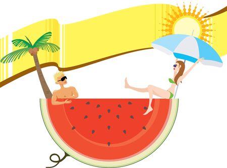 cool down: Enfriar vacaciones de verano con la bandera amarilla, zona en blanco para el dise�ador para llenar lo que les gusta
