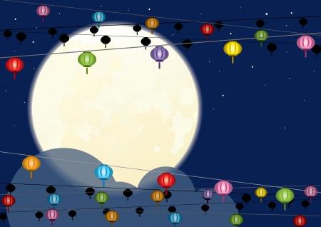 중국 mid 가을, 중국어 새로운 년 동안 보름달과 중국의 랜턴을 거는 일러스트