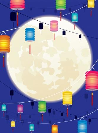 Volle maan en opknoping Chinese lantaarn voor Chinese Mid herfst of Chinees Nieuwjaar Stock Illustratie