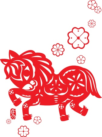 horse clipart: Chinese year of Horse made by traditional chinese paper cut arts, small red chop means Horse in Chinese