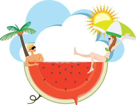 hot woman: Cool down hot summer holiday by fresh juicy watermelon