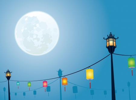 paper lantern: Full moon night for Chinese mid autumn festival design backgrounds Illustration
